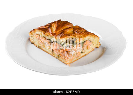 Piece of fish pie isolated on white background - Stock Photo