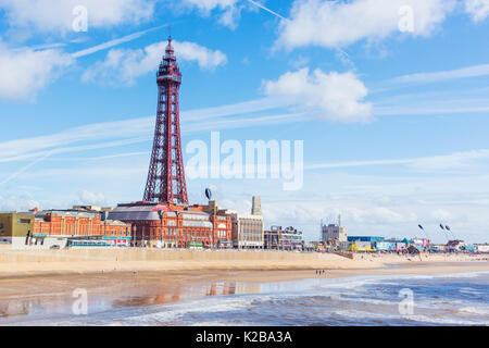 Blackpool, Fylde Coast, Lancashire, England.  The Blackpool Tower, opened on14 May 1894 and inspired by the Eiffel - Stock Photo