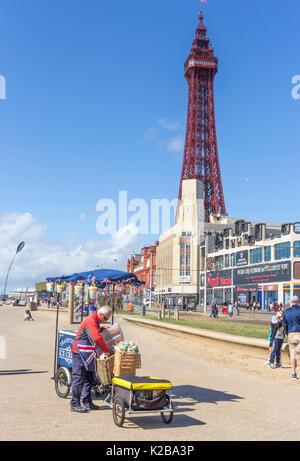 Blackpool, Fylde Coast, Lancashire, England. Ice-cream and popcorn seller on the promenade.  The Blackpool Tower - Stock Photo