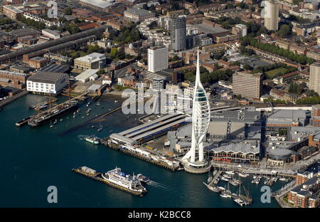 AJAXNETPHOTO. PORTSMOUTH, ENGLAND. - GENERAL AERIAL VIEW OF HARBOUR, , MILLENIUM TOWER, THE HARD, PORTSMOUTH & SOUTHSEA - Stock Photo