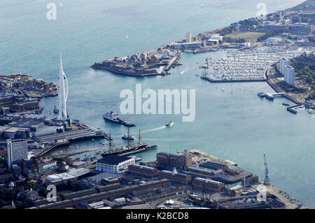 AJAXNETPHOTO. PORTSMOUTH, ENGLAND. - GENERAL AERIAL VIEW OF HARBOUR, ENTRANCE, MILLENIUM TOWER AND GOSPORT'S HASLAR - Stock Photo