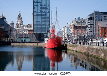 Boat moored at Canning Dock, part of the Albert Dock complex, Liverpool, Merseyside, UK, June 2015. All non-editorial - Stock Photo