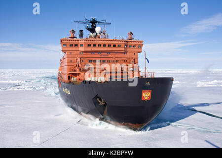 The world's largest nuclear-powered icebreaker, '50 years of Victory', on the way to the North Pole, Russian Arctic, - Stock Photo
