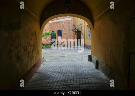 A courtyard in Vilnius, Lithuania - Stock Photo