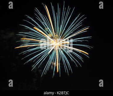 Fireworks burst in the air on 4th of July. - Stock Photo