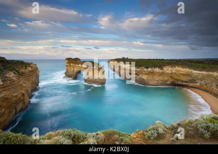 Window arch at Loch Ard Gorge at dawn, Port Campbell National Park, Great Ocean Road, Victoria, Australia, February - Stock Photo