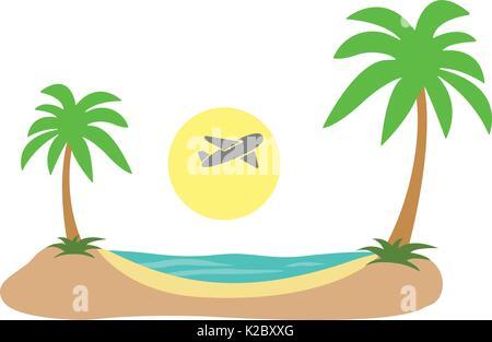 Summer Vacation. Tropical island plane in sky sea shore sand beach flat. Vector - Stock Photo