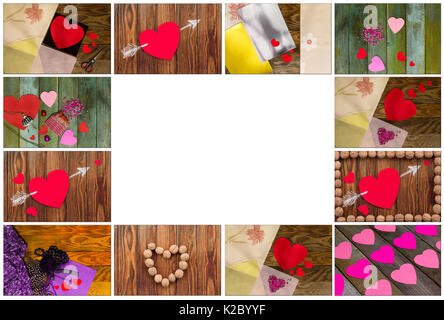 Heart fabric frame and wooden text LOVE on wooden table background ...