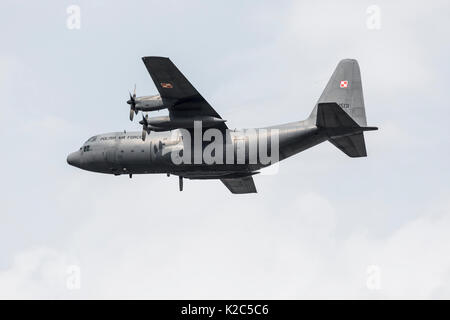 RADOM, POLAND - AUGUST 26, 2017 : Polish Air Force Lockheed C-130 E Hercules (1505) during Air Show Radom 2017 - Stock Photo