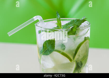 Mojito cocktail macro view soft focus - Stock Photo
