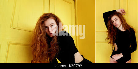 Model tests. Beautiful redhead girl with curly hair.Natural color. Great contrast with yellow wooden doors - Stock Photo