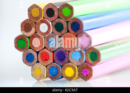 Macro view colorful pencils palette. Selective focus, shallow depth of field - Stock Photo