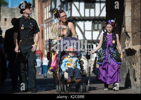 Lincoln, Lincolnshire, UK. 26th August 2017. Pictured:  A family of Steampunkers make the most of the sunny weather. - Stock Photo