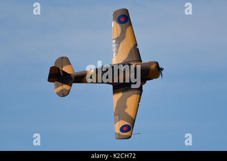 North American T-6 Texan Harvard wartime trainer flying at the Little Gransden Children in Need airshow. Space for - Stock Photo