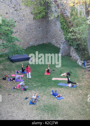 yogi yoga exercise teacher teaching taking a class in a circle outside al fresco in walled garden lawn in the shade - Stock Photo