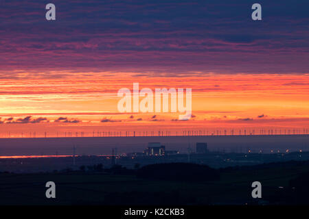 20/10/2016 Heysham power stations with windfarms operated by DONG Energy in the Irish sea beyond - Stock Photo
