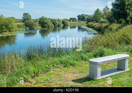 The River Tame flowing near the National Memorial Arboretum at Alrewas, Staffordshire - Stock Photo