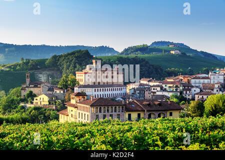 Village of Barolo with Barolo Castle, Castello di Barolo, Piedmont, Italy - Stock Photo