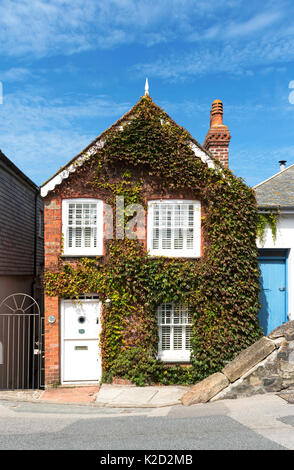 an ivy covered holiday cottage home in st.ives, cornwall, england, uk. - Stock Photo
