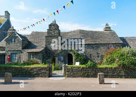 the old post office 14th century,building in tintagel, cornwall, england, britain, uk, - Stock Photo