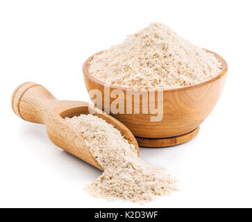 Whole grain buckwheat flour isolated on white - Stock Photo