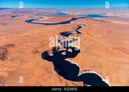 Aerial view of the Colorado River, Lake Powell, Page, Arizona, USA, February 2015. Lake Powell is a reservoir on - Stock Photo