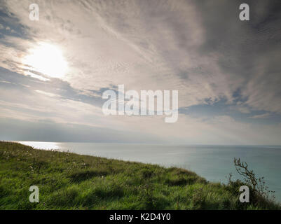 Clouds over the sea and view to the horizon, between Mers Les Bains and Ault, Somme, Picardie, France, September - Stock Photo