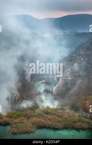 Limestone gorge below the 'Sastavci' waterfalls, Plitvice Lakes National Park, Croatia. November. - Stock Photo