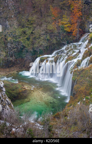 Series of waterfalls known as 'Sastavci' that cascade between mountain lakes, Plitvice Lakes National Park, Croatia. - Stock Photo