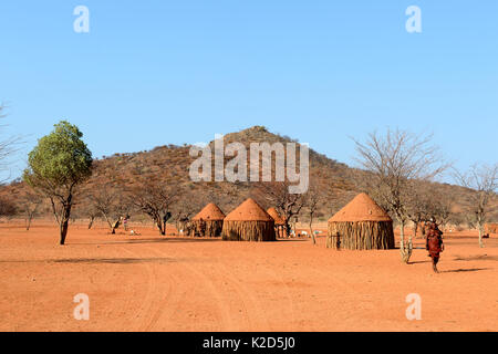 Traditional Himba village near Epupa. Kunene region. Kaokoland, Namibia. October 2015 - Stock Photo