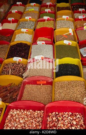 Shop selling many types of Peruvian corn, San Pedro Market, Cusco, Peru, South America - Stock Photo