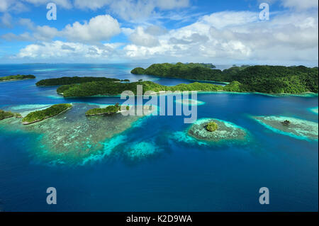 Aerial view of Palau and associated tropical islands, Philippine Sea - Stock Photo