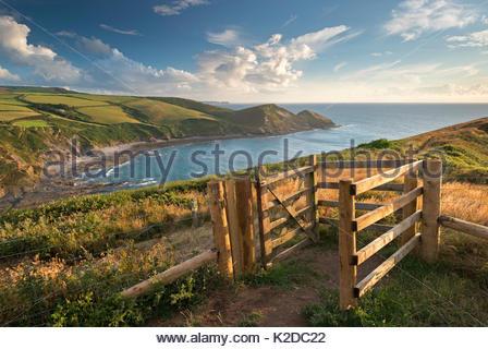 Kissing Gate on South West Coast Path near Crackington Haven, Cornwall, England, UK. August 2013. - Stock Photo