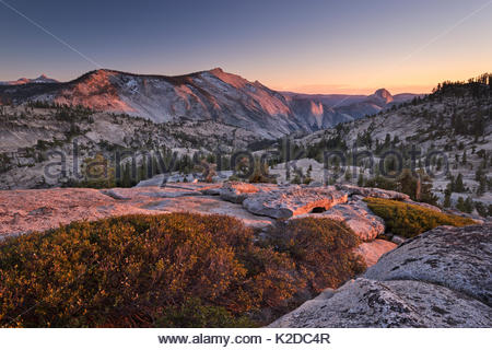 Half Dome and Clouds Rest mountains from above Olmstead Point, Yosemite National Park, California, USA. October - Stock Photo