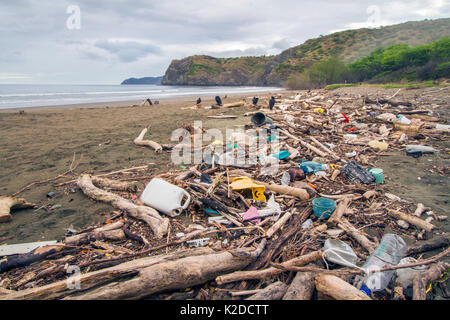 Plastic waste and driftwood washed in on the tide, Nancite Beach, Santa Rosa National Park, Costa Rica. November - Stock Photo