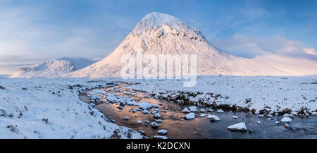 Panorama of Devil's point and Carn Toul at sunrise with the river Dee in the forground. Mar Lodge Estate, Cairngorms, - Stock Photo