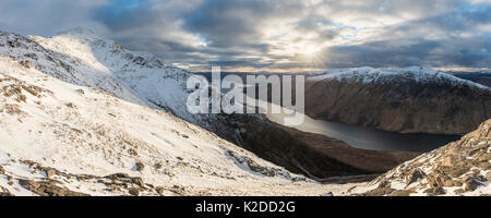 View from Ben Starav with  Loch Etive, Highlands of Scotland, UK,  UK, March 2016. - Stock Photo