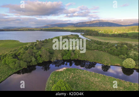 Aerial view over Insh Marshes National Nature Reserve, Cairngorms National Park, Scotland, UK, May 2016. - Stock Photo