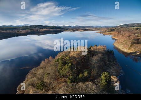 Sky reflected in Loch Insh, Cairngorms National Park, Scotland, UK, March 2016. - Stock Photo
