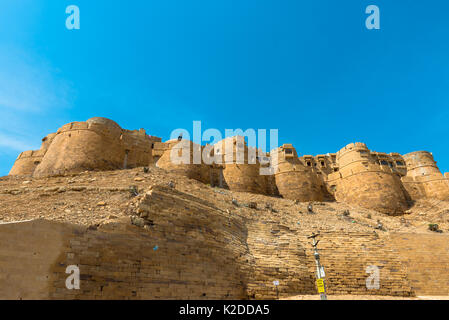 JAISALMER, RAJASTHAN, INDIA - MARCH 08, 2016: Upward picture of Jaisalmer Fort, carved yellow sandstone architecture - Stock Photo