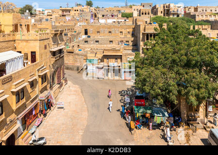 JAISALMER, RAJASTHAN, INDIA - MARCH 08, 2016: Horizontal picture from Patwa Haveli, carved yellow sandstone architecture - Stock Photo