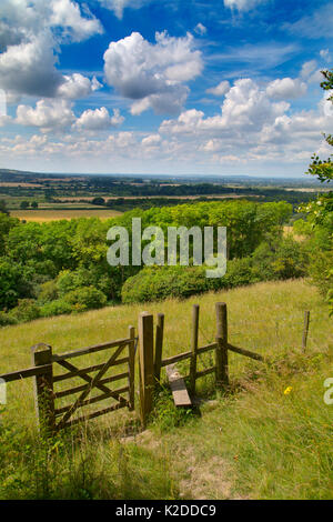 Stile and footpath, Aldbury Nowers Nature Reserve, the Chilterns, Hertfordshire, UK, July 2016 - Stock Photo