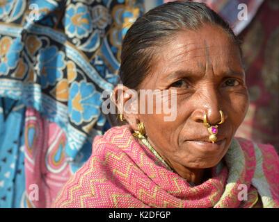 Elderly Indian Adivasi market woman (Desia Kondh tribe aka Kuvi Kondh) with gold-and-gemstone tribal nose jewellery - Stock Photo