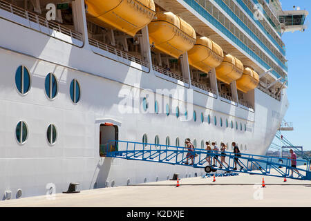 Royal Caribbean Navigator of the Seas, voyager class cruise ship docked at Lisbon Portugal - Stock Photo