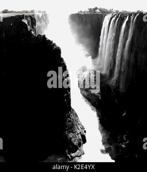 High contrast black and white image of Victoria Falls in Zambia - Stock Photo