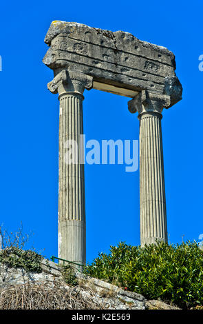 Corinthian columns from Noviodunum Helvetiorum, Nyon, Vaud, Switzerland - Stock Photo