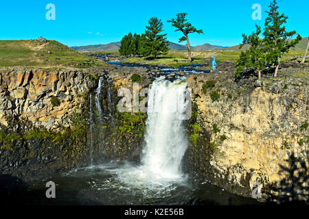 Orkhon Waterfall, Orchon Valley, Khangai Nuruu National Park, Övörkhangai Aimag, Mongolia - Stock Photo