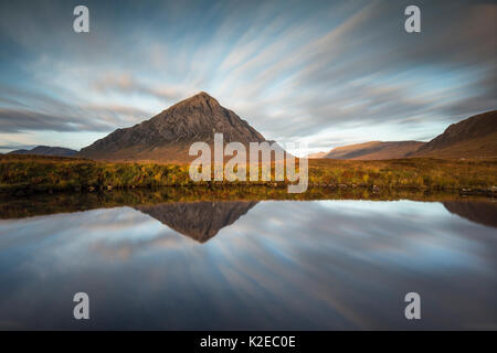 Stob Dearg reflected in River Coupall at dawn, Glencoe, Lochaber, Scotland, UK, October 2014. - Stock Photo