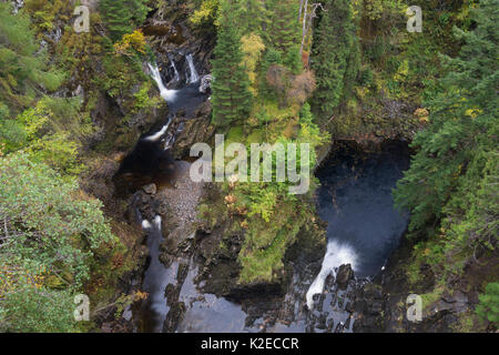 Plodda Falls, Tomich, Wester Ross, Highlands, Scotland, UK, October 2015. - Stock Photo