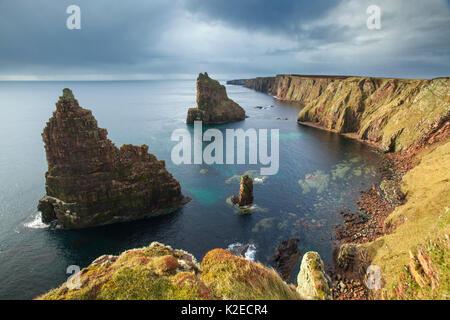 Sea stacks, Duncansby Head, John O Groats, Caithness, Scotland, UK, April 2015. - Stock Photo